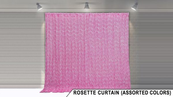 rosette backdrop display for photo booth rental